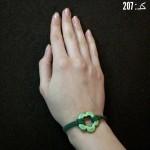 دستبند جیر سبز و گل 5 پر سبز