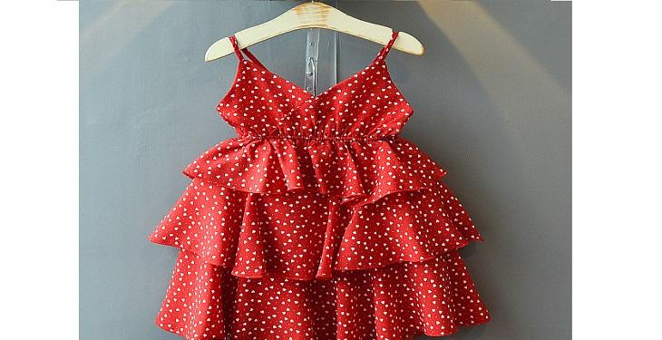 لباس قرمز خال خالی برای دختر بچه ها